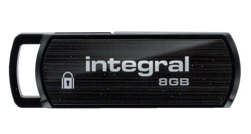 Integral 360 Secure USB Drive Rotating-socket Capless ID System 256-bit 8GB Black Ref INFD8GB360SEC