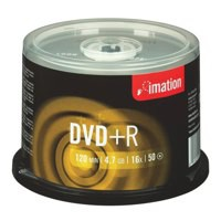 Imation DVD+R Recordable Disk Write-once on Spindle 16x Speed 120min 4.7GB Ref i21750 [Pack 50]