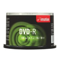 Imation DVD-R Recordable Disk Write-once on Spindle16x Speed 120min 4.7GB Ref i21980 [Pack 50]