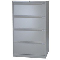 Bisley Side Filing Cabinet 4-Drawer W800xD470xH1301-1325mm Goose Grey Ref SF4N