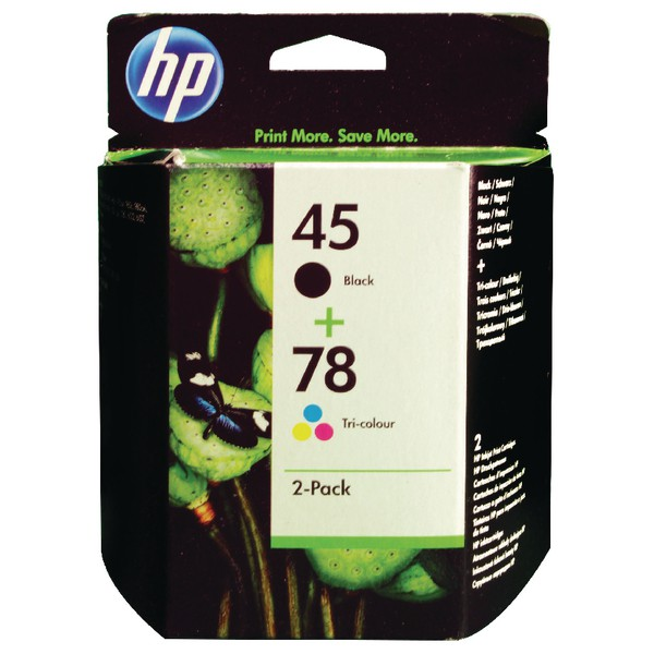Hewlett Packard [HP] No.45 & 78 Inkjet Cartridge Page Life 833/450pp Black/Colour Ref SA308AE [Pack 2]