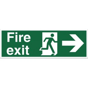 Stewart Superior Fire Exit Sign Man and Arrow Right 450x150mm Self-adhesive Vinyl Ref SP121SAV