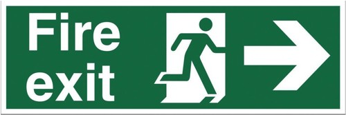 Stewart Superior Fire Exit Sign Man and Arrow Right 450x150mm Polypropylene Ref SP121PVC
