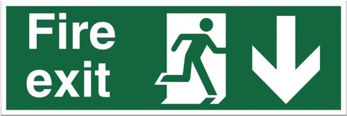 Stewart Superior Fire Exit Sign Man and Arrow Down 450x150mm Self-adhesive Vinyl Ref SP124SAV