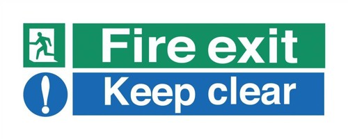 Stewart Superior Fire Exit Sign Keep Clear 450x150mm Polypropylene Ref SP126PVC