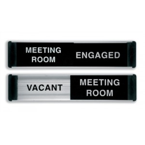Sliding Door Sign Meeting Room Vacant/Engaged W255xH52mm Aluminium and PVC