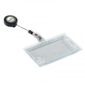 Durable Pass Badge Holder Dual Security Acrylic with Name Badge and 850mm Reel Ref 8224/19 [Pack 10]
