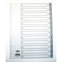 Concord Grey Polypropylene Index A4 1-12 62505