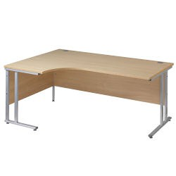 Maestro 25 SL 1600mm Left Hand Double Upright Cantilever Ergo Desk Silver/Maple