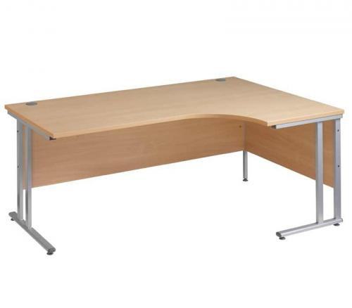 Ergonomic Desk 1600mm Beech Right Hand