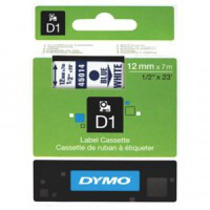 Dymo D1 Tape for Electronic Labelmakers 12mmx7m Blue on White Code S0720560