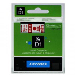 Dymo D1 Tape for Electronic Labelmakers 12mmx7m Red on White Code S0720560
