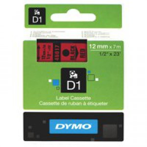 Dymo D1 Tape for Electronic Labelmakers 12mmx7m Black on Red Code S0720570