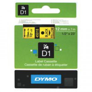 Dymo D1 Tape for Electronic Labelmakers 12mmx7m Black on Yellow Code S0720580