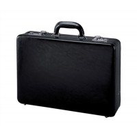 Image for Alassio Attache Case Leather 3x A4 Compartments Expandable by 20mm Black Ref 41033
