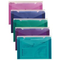 Snopake Polyfile Trio Electra Wallet File Polypropylene with Pocket Foolscap Assorted Ref 14967 [Pack 5]