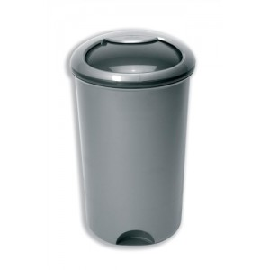 Bin with Rotating Lid and Footplate 50 Litre Metallic