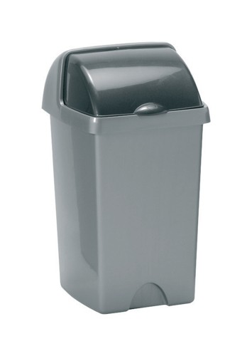 Roll Top Bin Composite Plastic 24 Litres Metallic