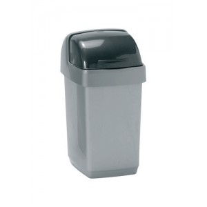 Roll Top Bin Composite Plastic 10 Litres Metallic