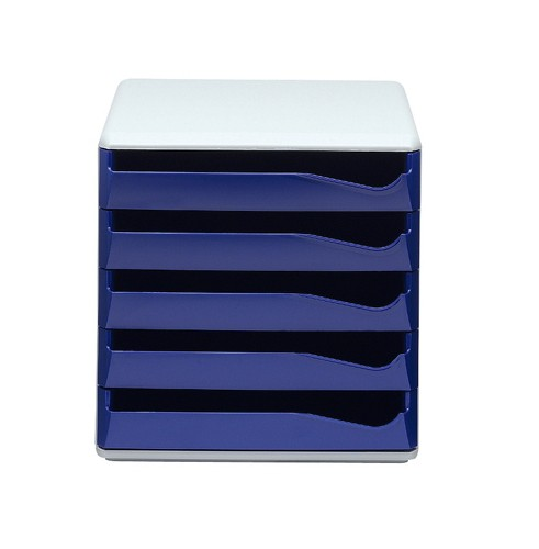 Post Set Filing Unit with 5 Drawers A4 Blue and Grey