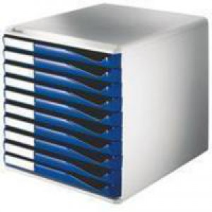 Form Set Filing Unit with 10 Drawers A4 Blue and Grey
