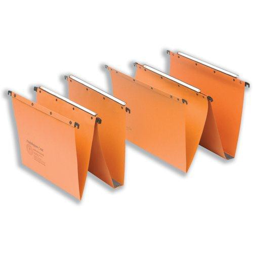 Elba Suspension File Manilla Vertical for 100sheet V-Base Foolscap Orange Ref 100330312 [Pack 25]