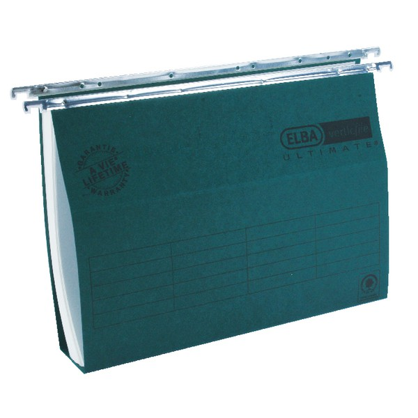 Elba Verticfile Suspension File Recycled 100 percent A4 Green Ref 100331251 [Pack 50]