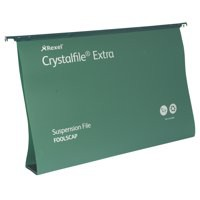 Rexel Crystalfile Extra Suspension File Polypropylene 50mm Foolscap Green Ref 3000112 [Pack 25]