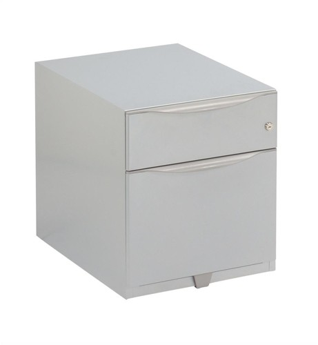 Trexus Sonix Filing Pedestal Steel Low Under-desk 2 Drawer Foolscap W420xD564xH495mm Silver