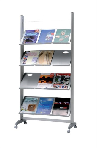 Literature Display Mobile 1 Sided 4 Metal Shelves 38mm Lip