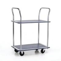 Image for Barton Trolley Steel Frame Non-marking Wheels Capacity 120kg 2- Shelf W470xD725xH950mm Chrome Ref PST2
