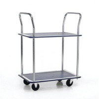 Barton 2-Shelf Trolley with Chrome Handles Silver/Blue PST2