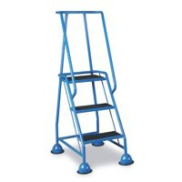Barton Mobile Steps on Retractable Castors Double Handrails Three Tread W820xD550xH1420mm Ref LWHCS/3