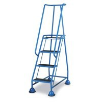 Barton Mobile Steps on Retractable Castors Double Handrails Four Tread 985x580x1725mm Code LWHCS/4