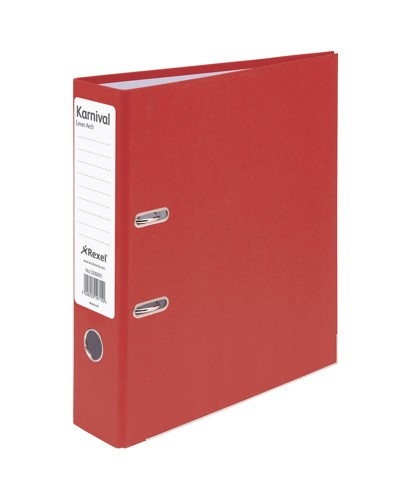 Rexel Karnival Lever Arch File Paper over Board Slotted 70mm A4 Red Ref 3200001 [Pack 10]