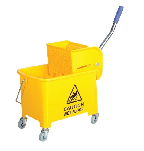 Mop Bucket Mobile Colour Coded with Handle 4 Castors 20 Litre Yellow