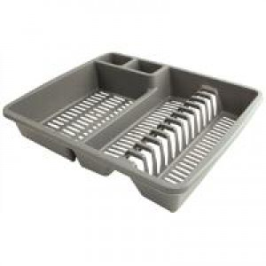 Dish Drainer Plastic for Standard Draining Boards Silver
