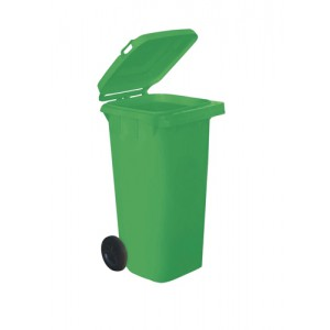 Wheelie Bin High Density Polythene with Rear Wheels 120 Litre Green