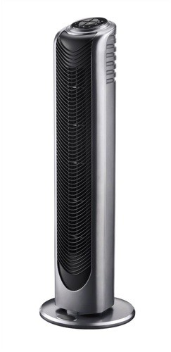 Tower Fan Static Remote Control 3 Speed 8hr Timer 240V 50W H710mm Black