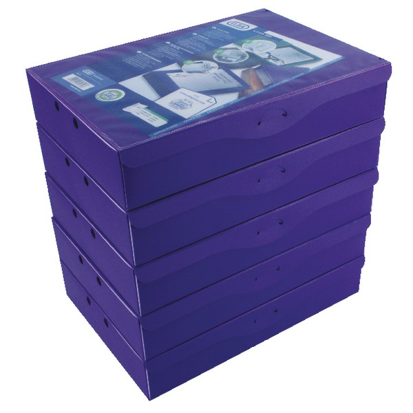 Elba Box File Opaque Polypropylene Rigid 70mm Spine Foolscap Purple Ref 100080829 [Pack 5]