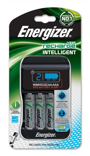 Energizer Intelligent Battery Charger for 4x A A/AAA Batteries Includes 4x AA 2000mAh Ref 637110