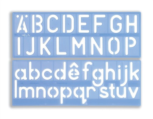 Helix Stencil Set of Letters Numbers and £/p Symbols 50mm Upper And Lower Case 4-piece Ref H57010