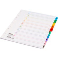 Concord Punched Pocket Index Multicolour-tabbed Europunched 1-10 Extra Wide A4 White Ref CS98