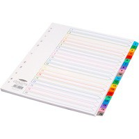 Concord Punched Pocket Index Multicolour-tabbed Europunched 1-20 Extra Wide A4 White Ref CS99
