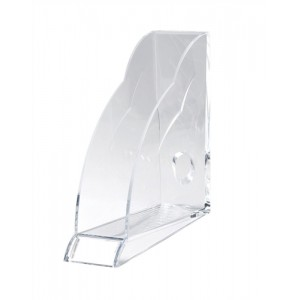 Rexel Nimbus Magazine Rack Robust Acrylic with Front Indexing Tab A4 Clear Ref 2101499