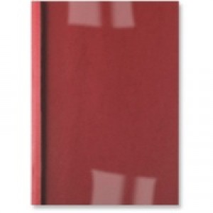 GBC A4 Thermal Binding Covers 1.5mm 250gsm PVC/Leathergrain Back Clear/Red Pack 100 IB451201