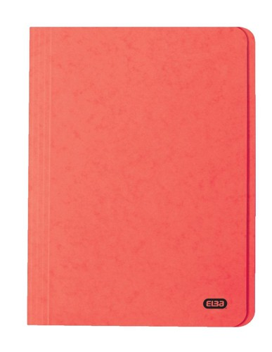 Elba Boston Square Cut Folder Pressboard 300 micron for 32mm Foolscap Red Ref 100090024 [Pack 50]