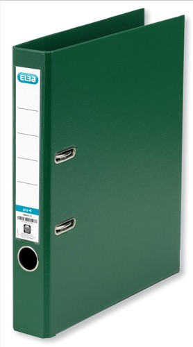 Elba Mini Lever Arch File PVC 50mm Spine A4 Green Ref 100080908 [Pack 10]