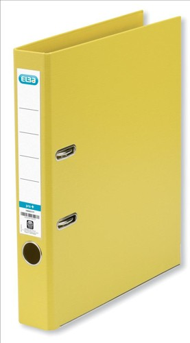 Elba Mini Lever Arch File PVC 50mm Spine A4 Yellow Ref 100082457 [Pack 10]