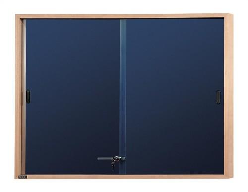 Nobo Display Cabinet Noticeboard Slimline Lockable Sliding Door Oak W1000xH825mm Blue Ref 32632503